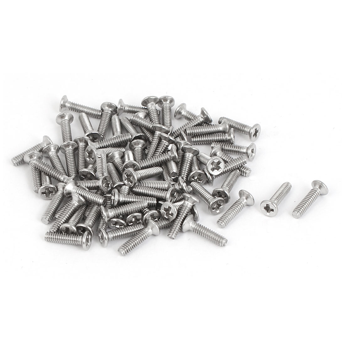 M2 x 8mm Fully Thread 316 Stainless Steel Phillips Drive Flat Head Screws 75 Pcs