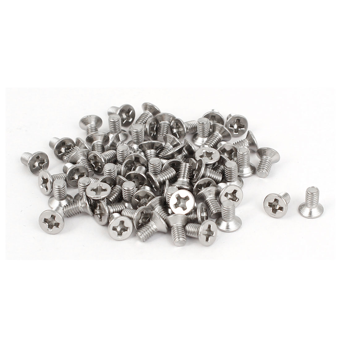 M3 x 6mm 316 Stainless Steel Phillips Drive Flat Head Fully Thread Screws 60 Pcs