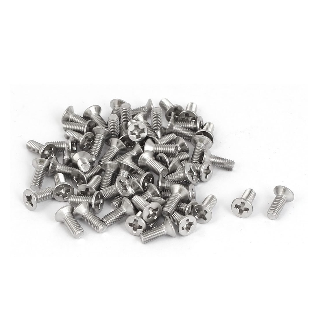 M3 x 8mm 316 Stainless Steel Phillips Flat Head Fully Thread Screws Bolts 60 Pcs