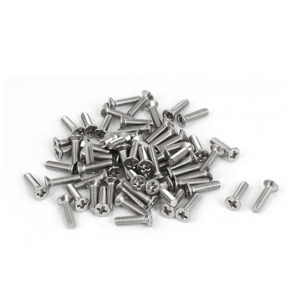 M3 x 12mm 316 Stainless Steel Phillips Drive Flat Head Screws Silver Tone 60 Pcs