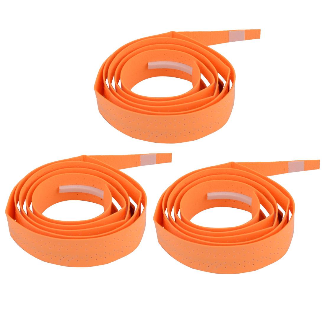 Badminton Foam Nonslip Racket Handle Sweat Absorbing Wrap Over Grip Tape Orange 3 Pcs
