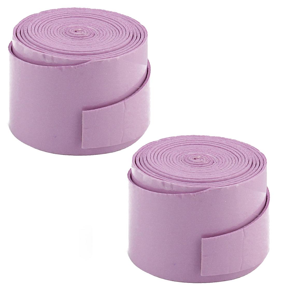 Badminton Foam Racket Handle Sweat Absorbing Wrap Over Grip Tape Light Purple 2 Pcs