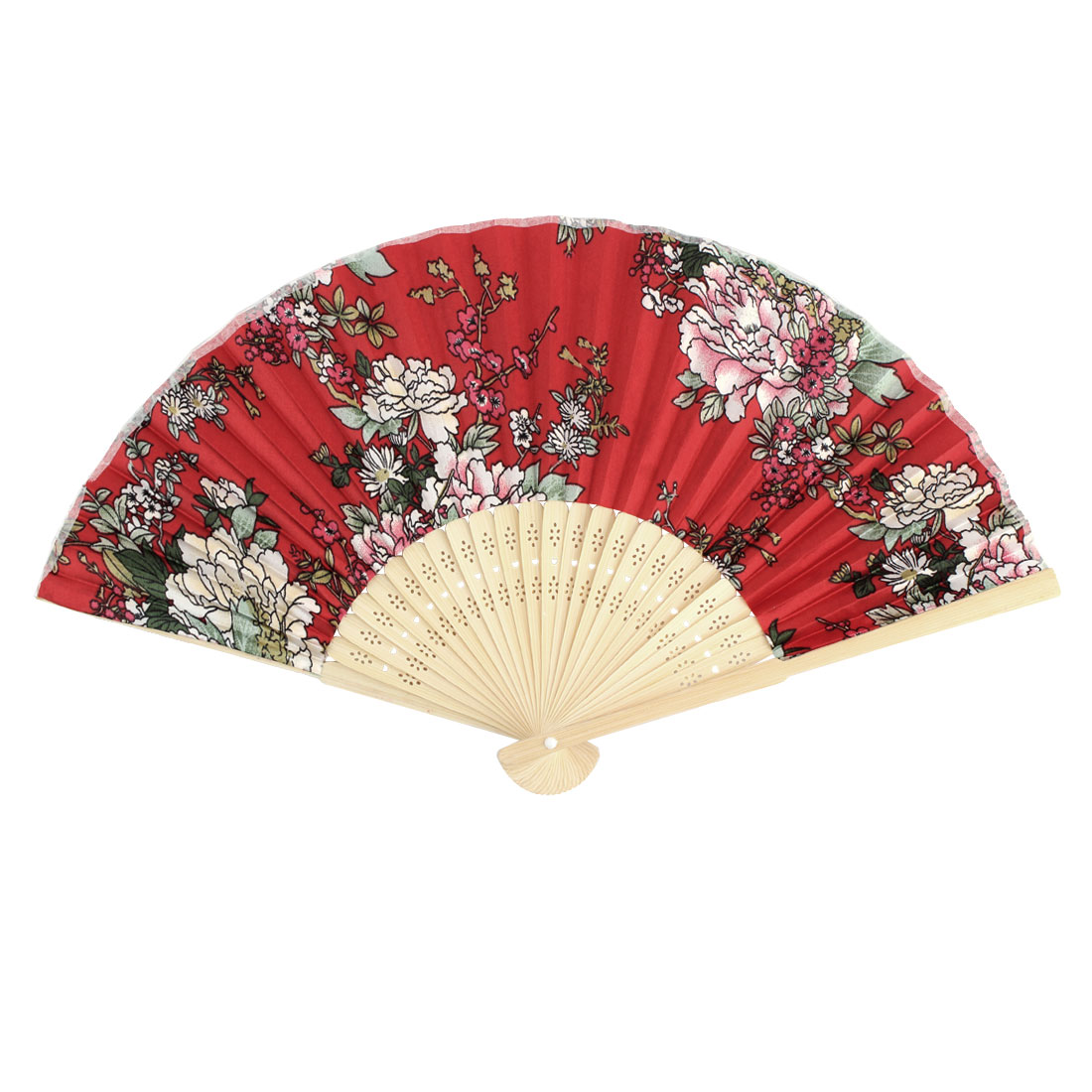 Lady Wedding Party Bamboo Ribs Floral Pattern Summer Folding Fan Assorted Color