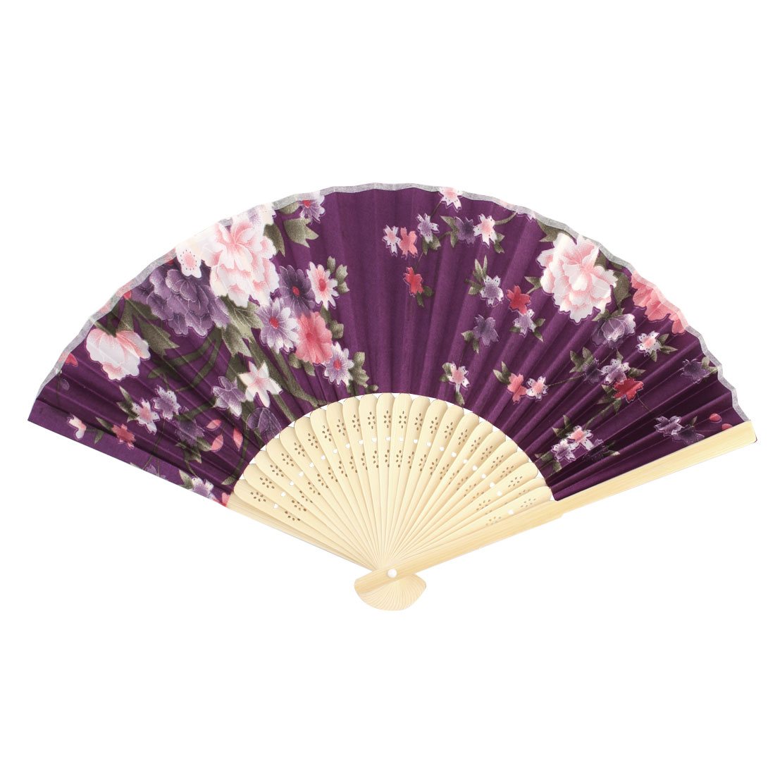 Lady Bamboo Ribs Floral Pattern Chinese Style Summer Folding Cooling Fan Purple