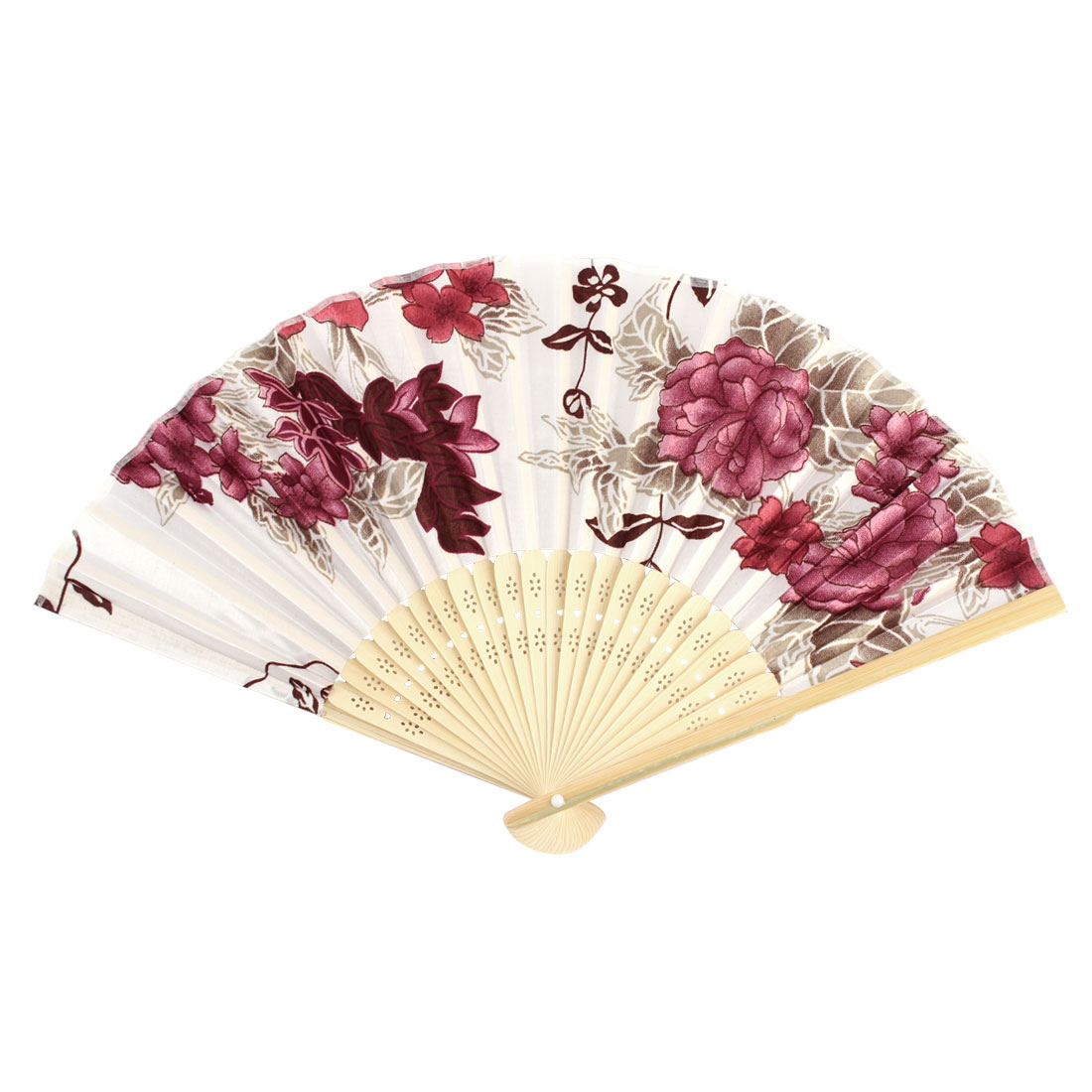 Lady Bamboo Frame Floral Pattern Summer Hand Folding Cooling Fan Assorted Color
