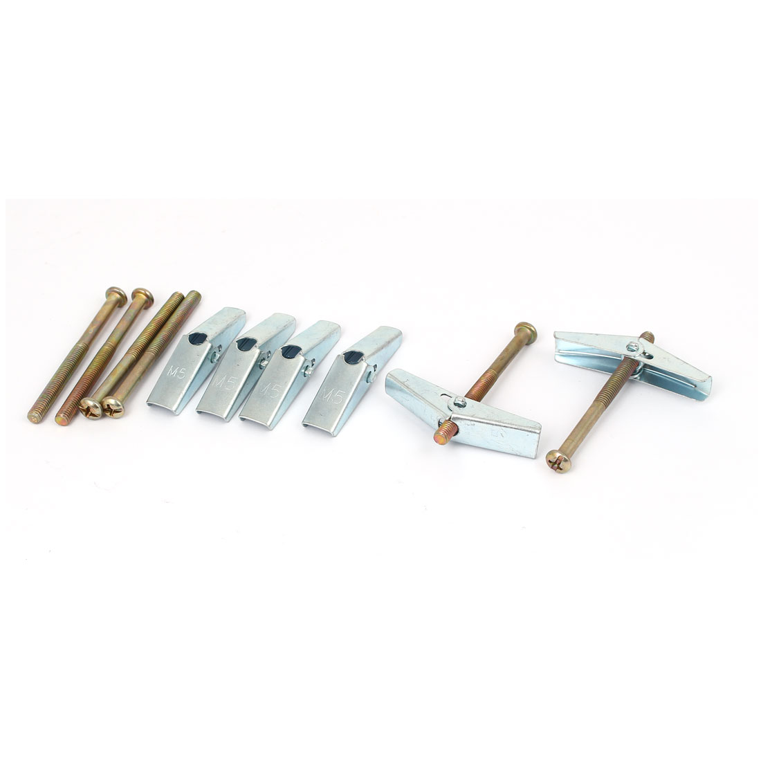 5mm x 60mm Thread Spring Toggle Hollow Plasterboard Cavity Wall Anchor Bolt 6pcs