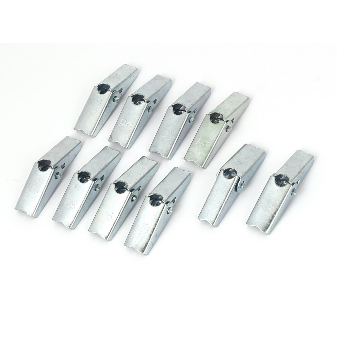 M6 Thread Metal Spring Loaded Hollow Wall Anchor Wing Nuts Silver Tone 10 Pcs