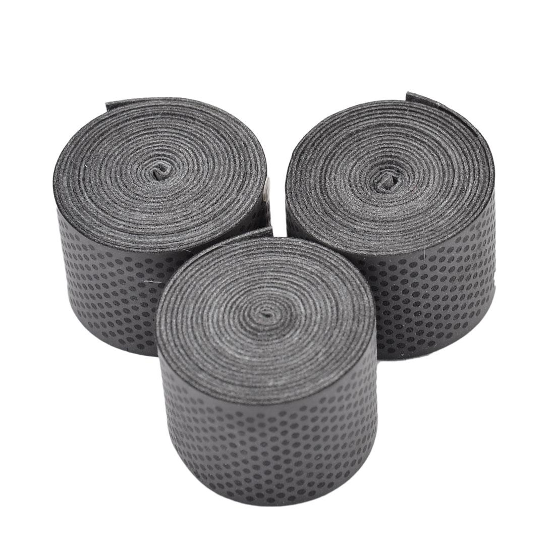 Badminton Foam Racket Sweat Absorbing Wrap Over Grip Tape Black 110 x 2.4cm 3 Pcs