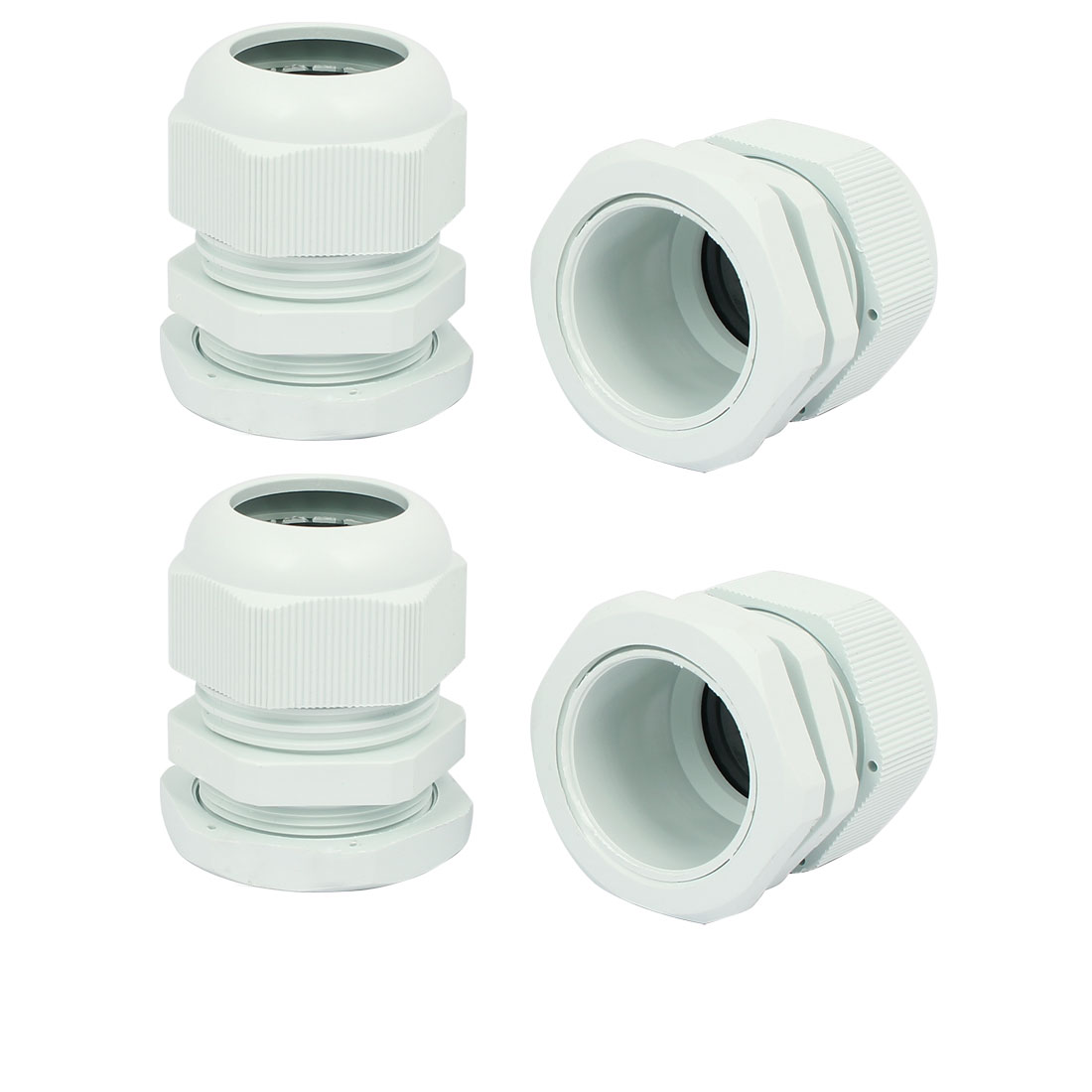 Waterproof Adjustable PG29 13-24mm 44mmx50mm Cable Gland White 4pcs