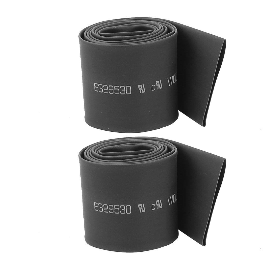 2Pcs 30mm Diameter Black Polyolefin Heat Shrink Tube Shrinkable Sleeving 90cm Long
