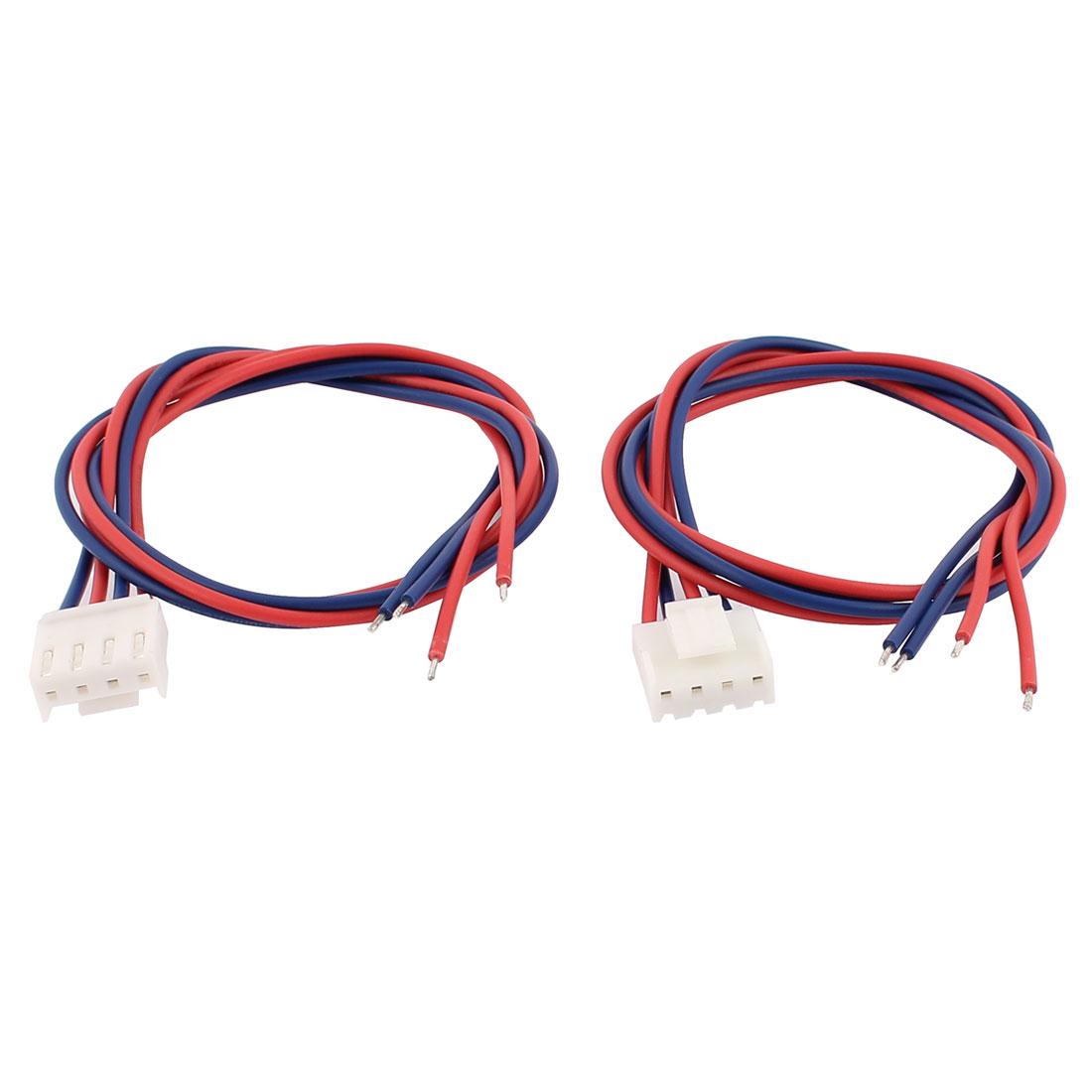 2Pcs 4P 3.96mm Pitch Crimp Terminal Connector Wire 40cm Long
