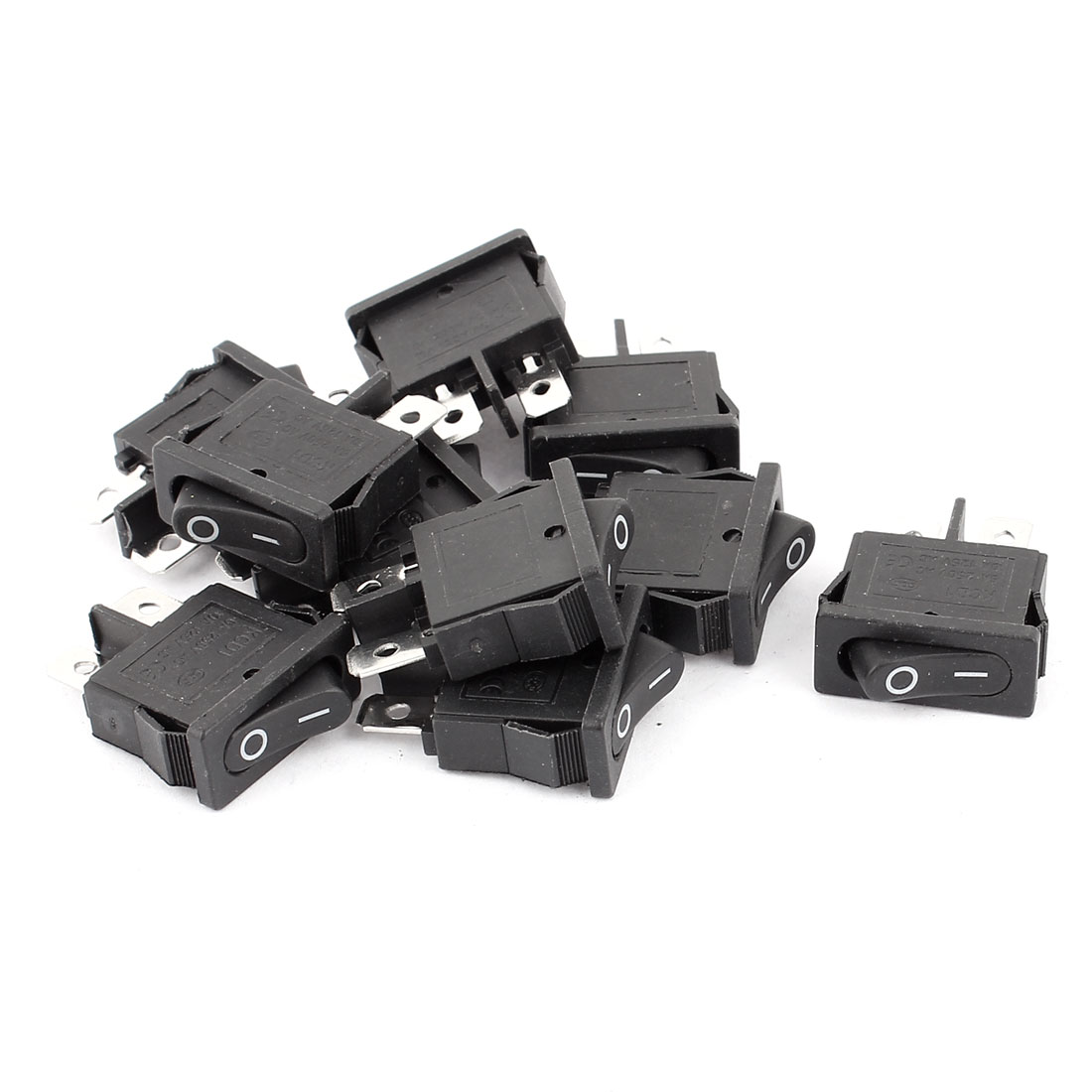 10Pcs AC250V 6A AC125V 10A 2 Terminals Locking SPST On Off Snap in Boat Rocker Switch