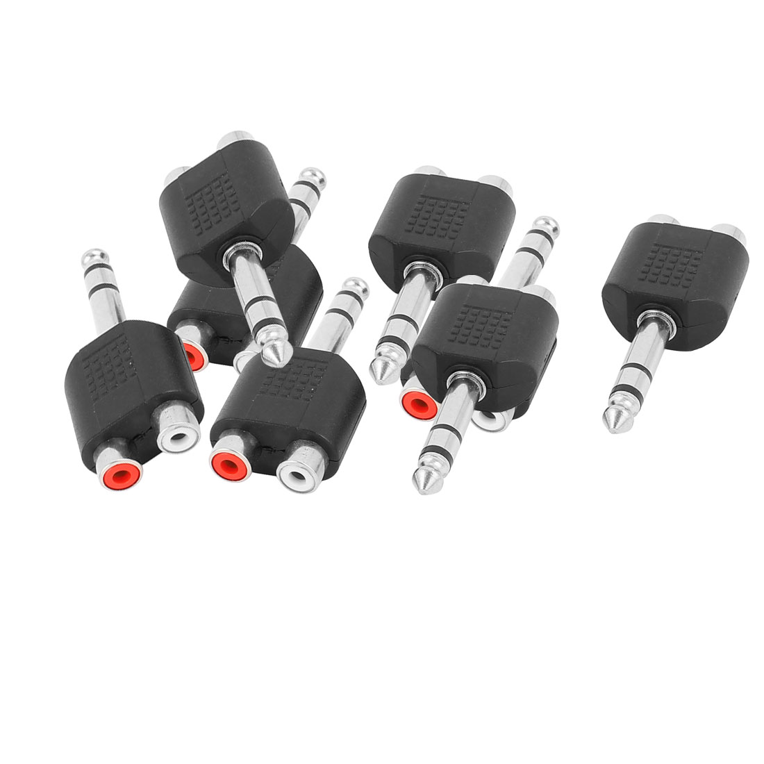 8 Pcs Black 2 RCA Female Jack to 6.35mm Male Stereo Audio Video Connector