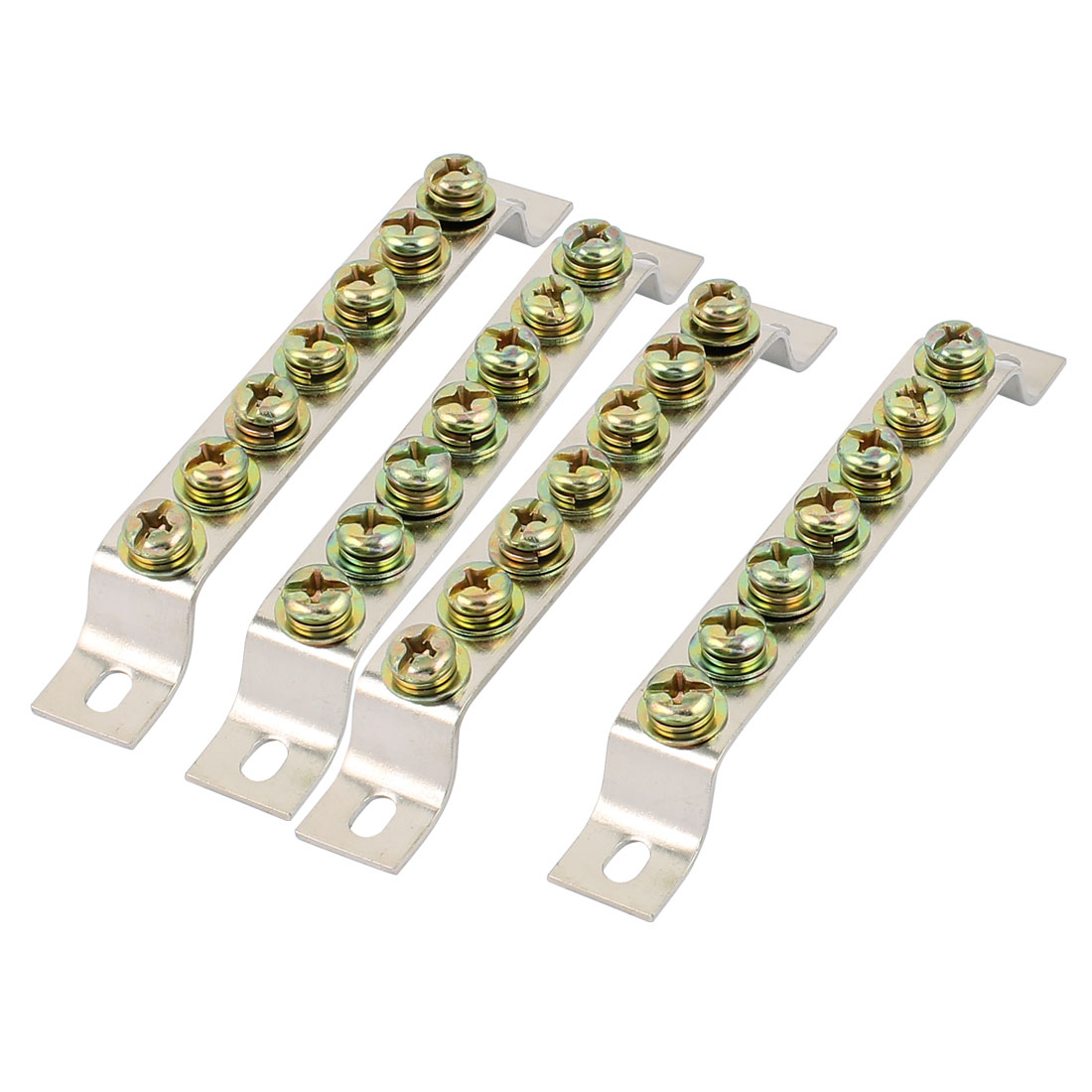 4PCS Single Row 7 Holes Ground Wire Bridge Shape Copper Screw Terminal Block Connector Bar
