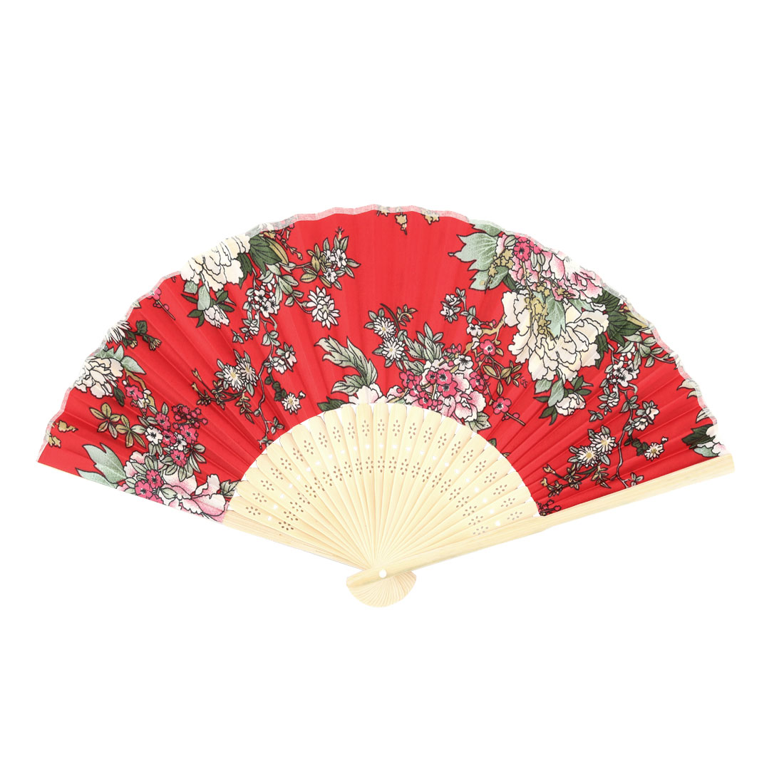 Women Dancing Party Bamboo Frame Peony Pattern Handheld Cooling Folding Fan Multicolor
