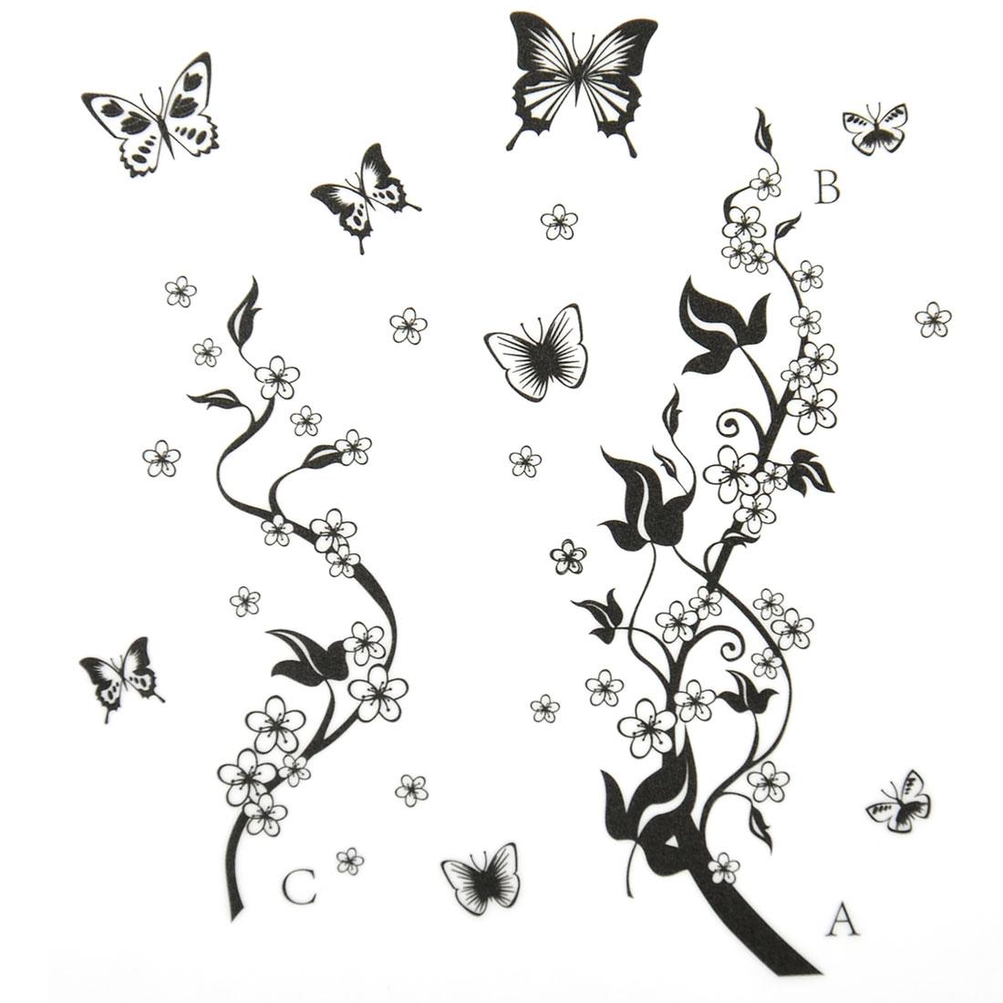 Living Room Wintersweet Pattern Wall Sticker Decal Mural Black White 90 x 60cm