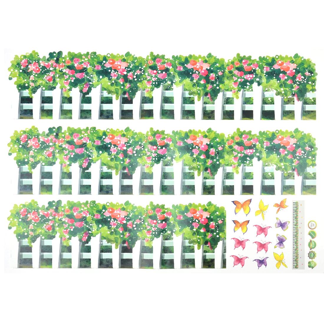 Room Decor DIY Fence Flower Pattern Waterproof Wall Sticker Decal Mural 70x50cm