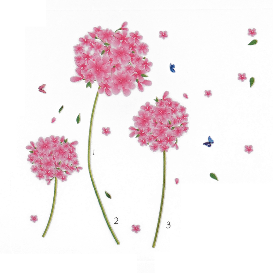 Flower Pattern Adhesive Wall Background Sticker Decal Wall Sticker 70 x 50cm
