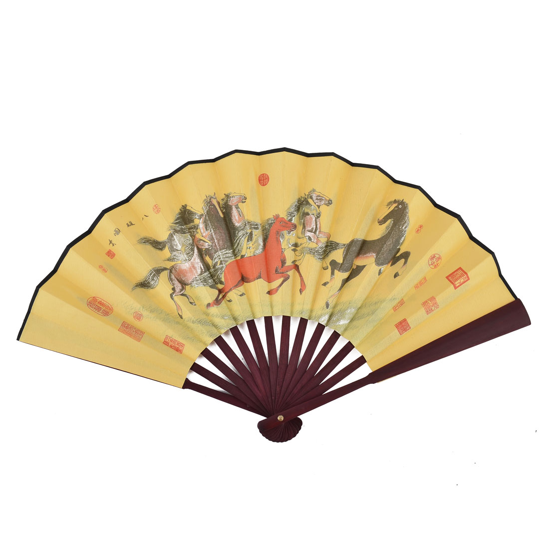 Family Wood Frame Horses Pattern Chinese Poem Painting Collection Folding Fan