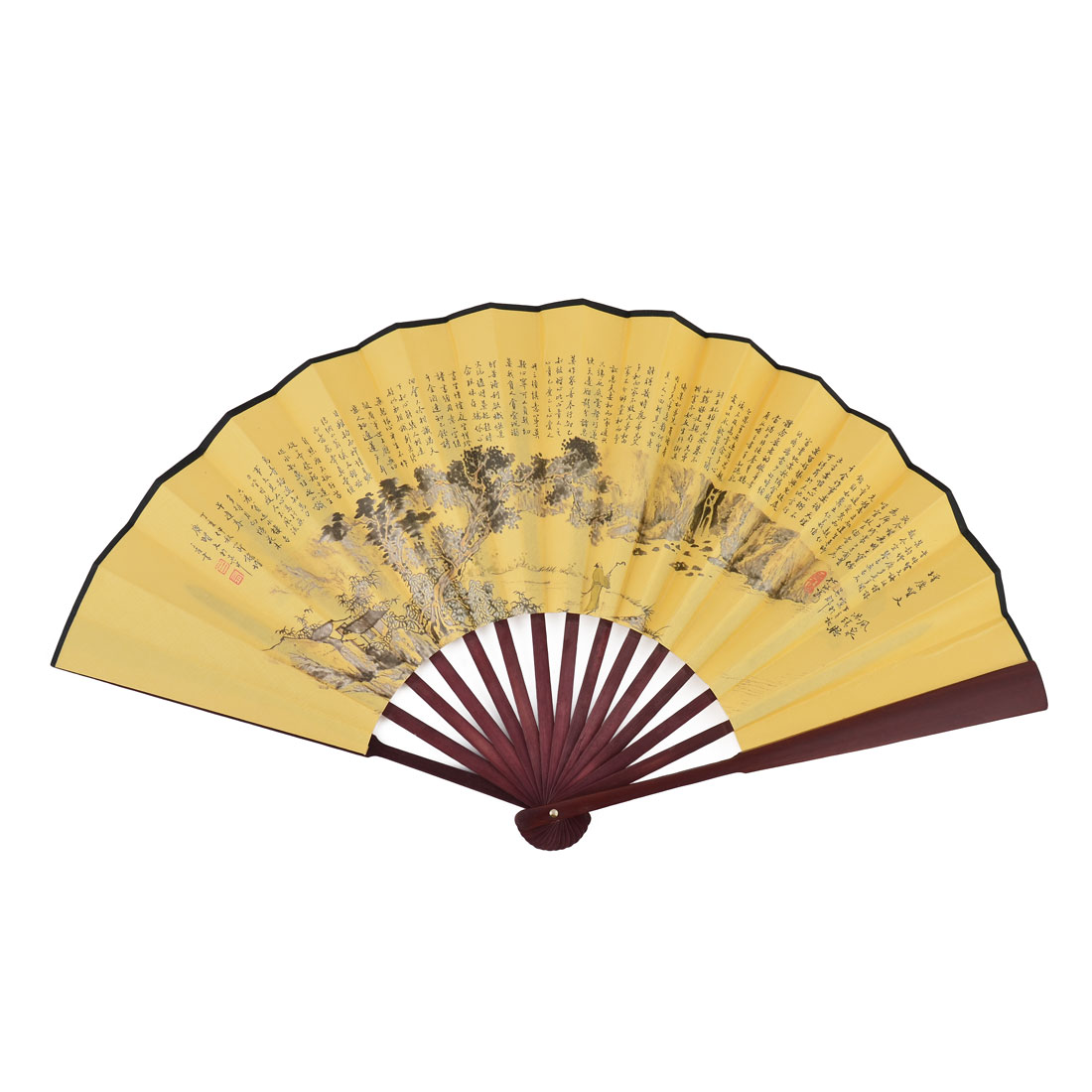 Family Wood Frame Chinese Character Print Retro Style Poem Decoration Collection Folding Fan