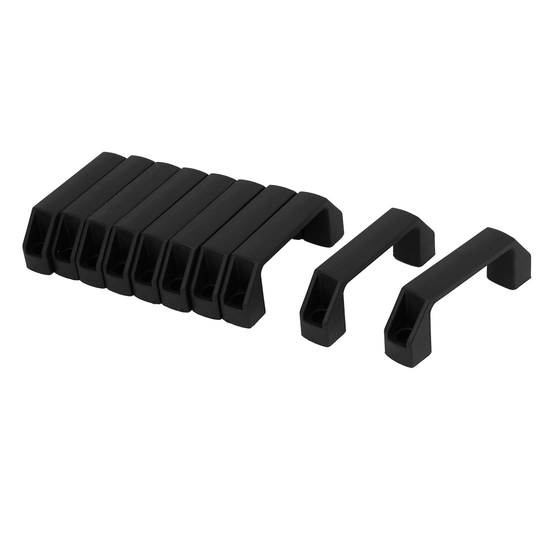 Cabinet Gate Door Plastic Pull Handles Black 90mm Hole Spacing 10pcs