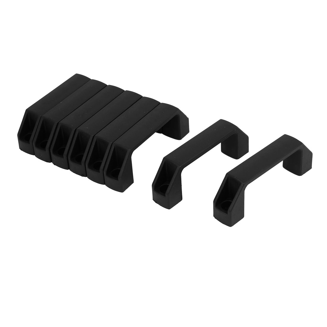 Cabinet Gate Door Plastic Pull Handles Black 90mm Hole Spacing 8pcs