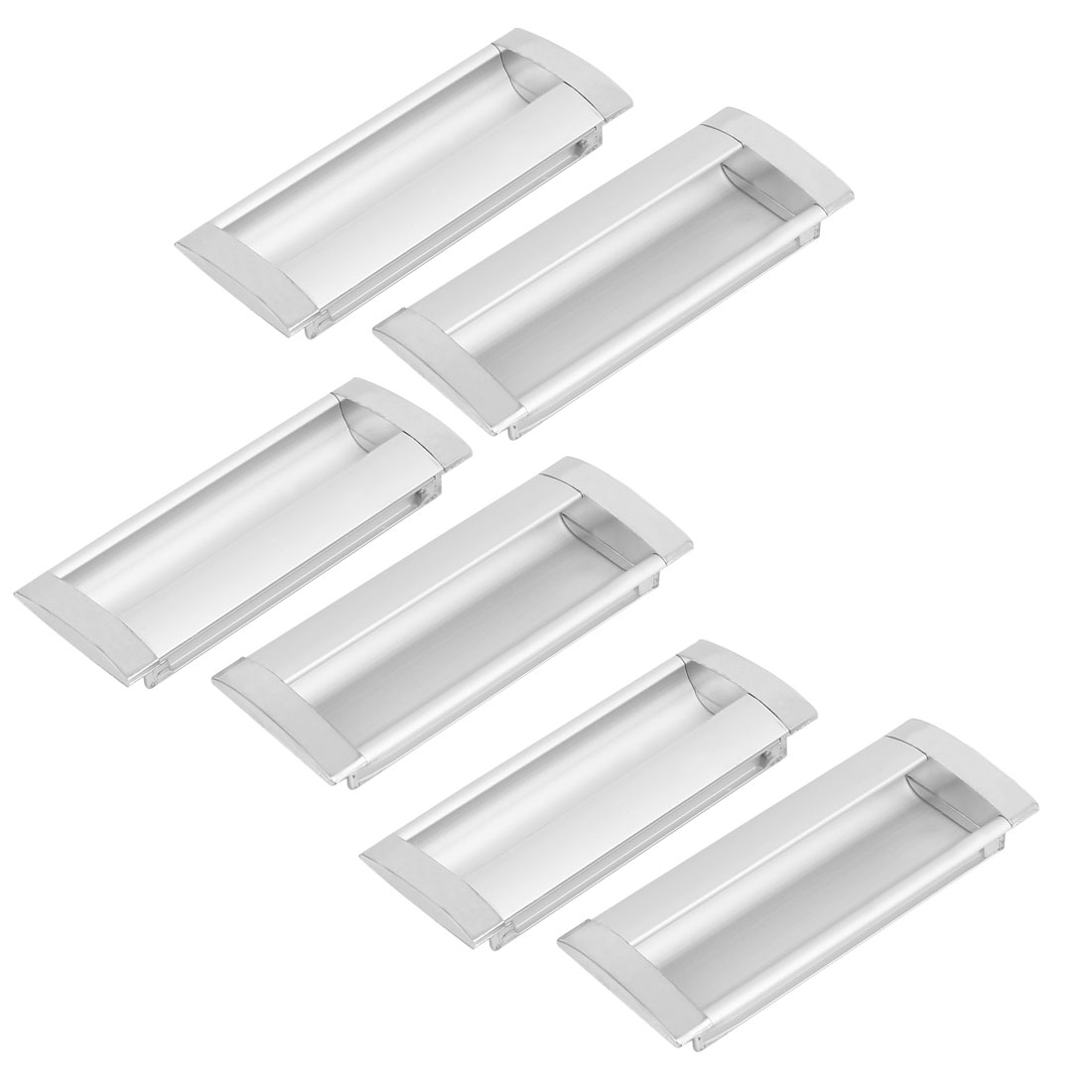 Cabinet Drawer Alloy Rectangle Flush Pull Handles Grips Silver Tone 6pcs