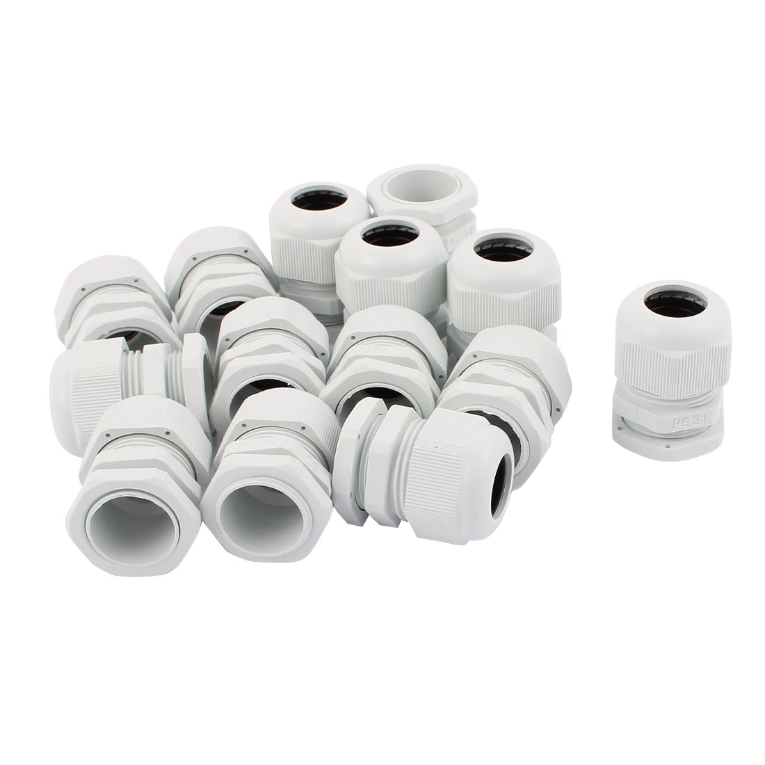 14 PCS PG21 13-18mm Range Waterproof Cable Glands Fixing Cord Connect Adapter White