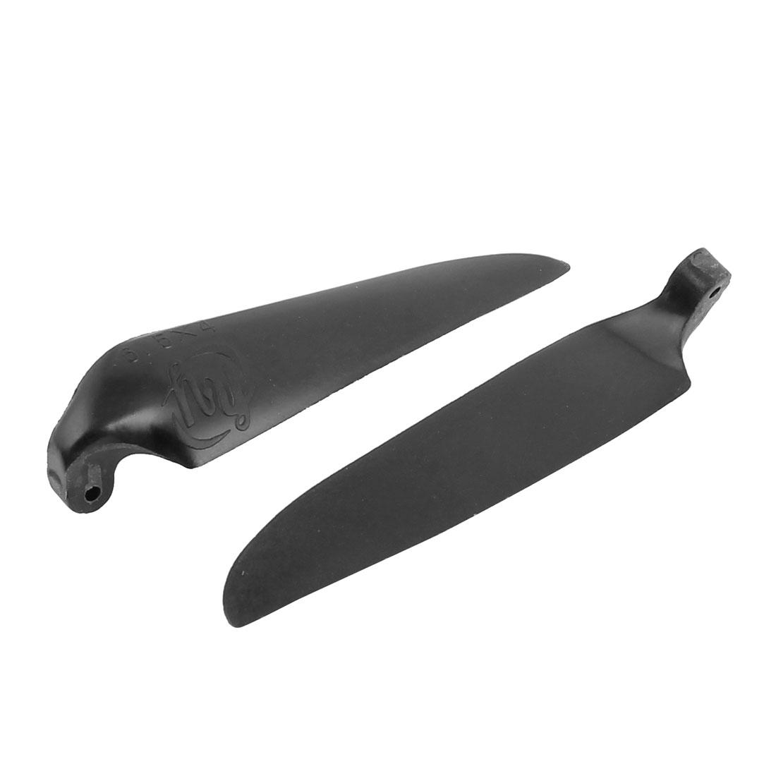 Pair RC Glider Plane Black Plastic Folding Propeller Vanes 6.5 x 4 Inch