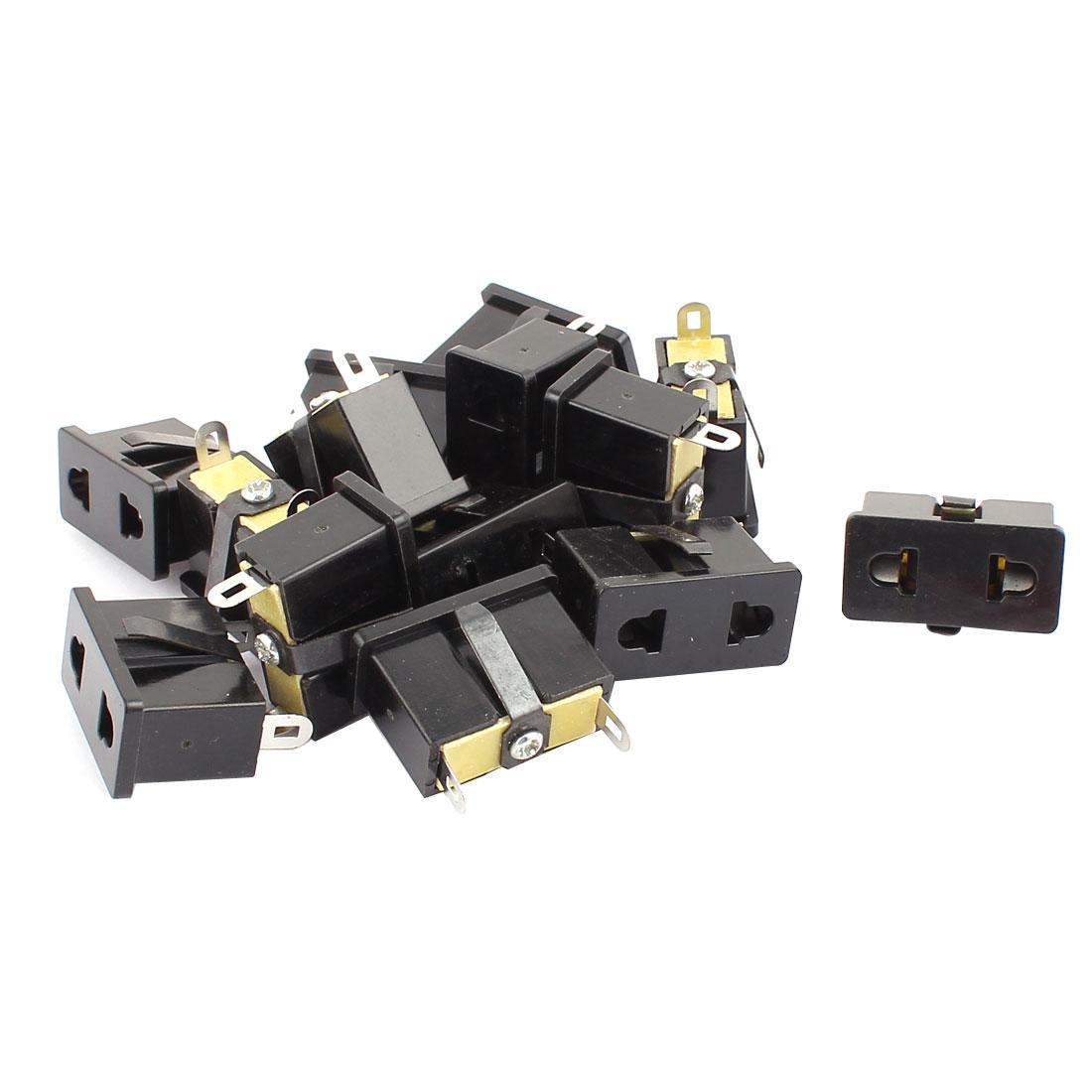 14 Pcs 2 Terminals Panel Mounted EU US Plug Snap In Power Socket Converter Black
