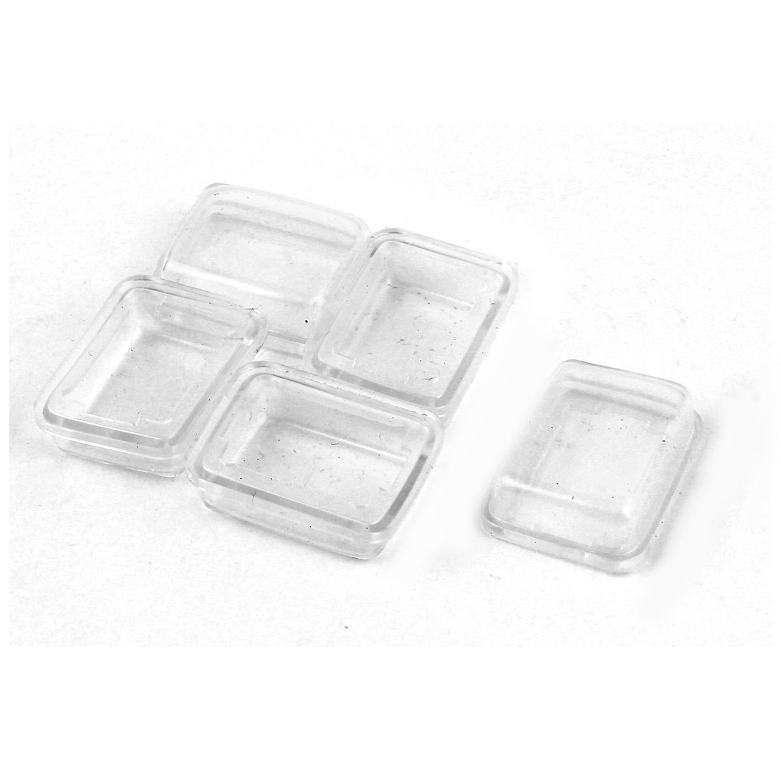 5 Pcs White Clear Silicone Waterproof Rocker Switch Protect Cover Rectangle Cap