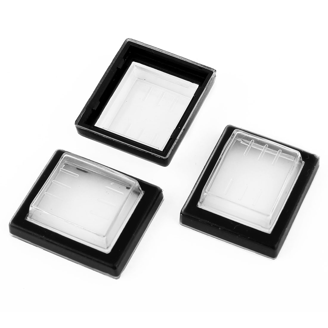 3 Pcs Clear Black Silicone Waterproof Rocker Switch Protect Cover Rectangle Cap