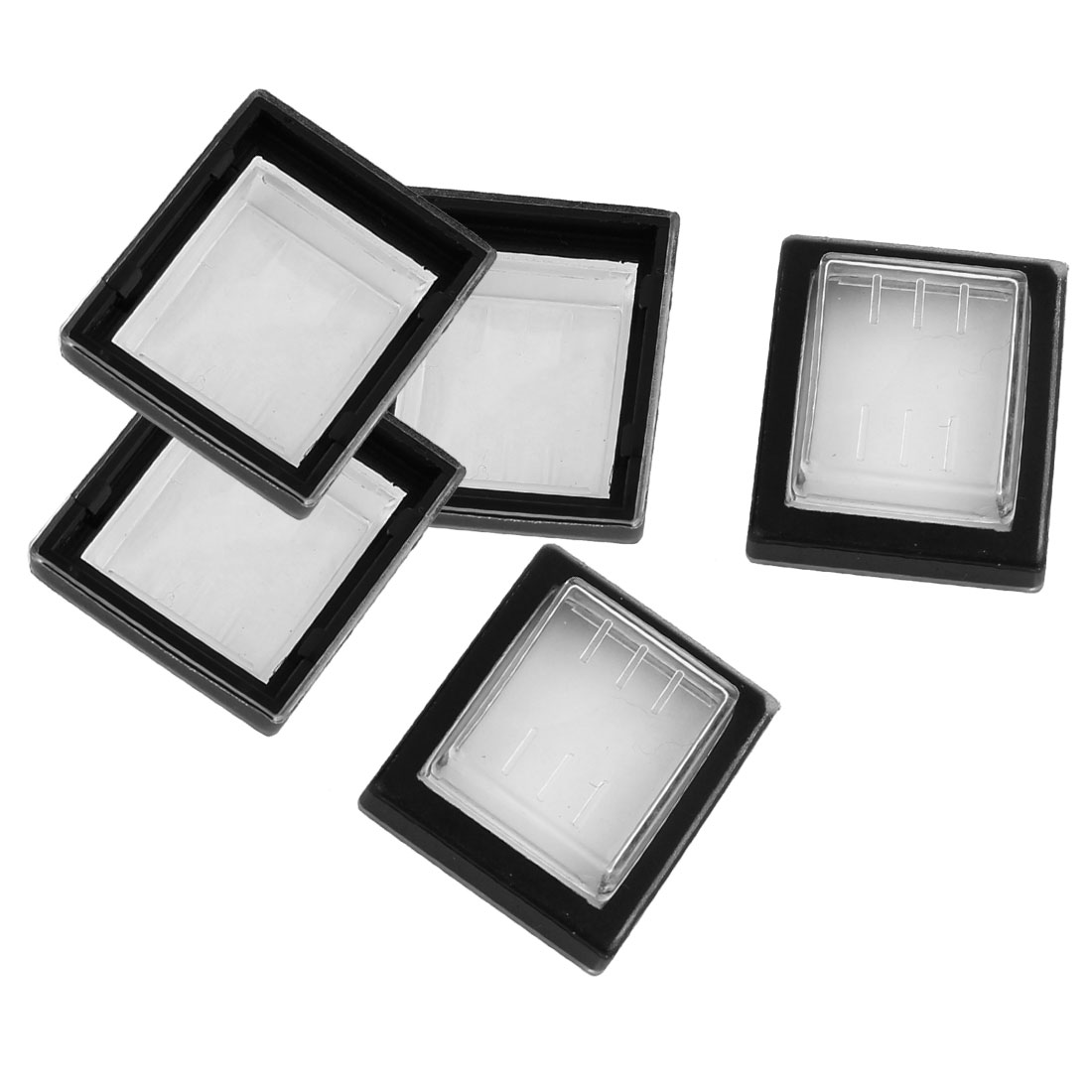5 Pcs Clear Black Silicone Waterproof Rocker Switch Protect Cover Rectangle Cap