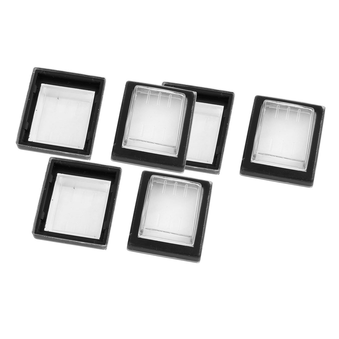 6 Pcs Clear Black Silicone Waterproof Rocker Switch Protect Cover Rectangle Cap
