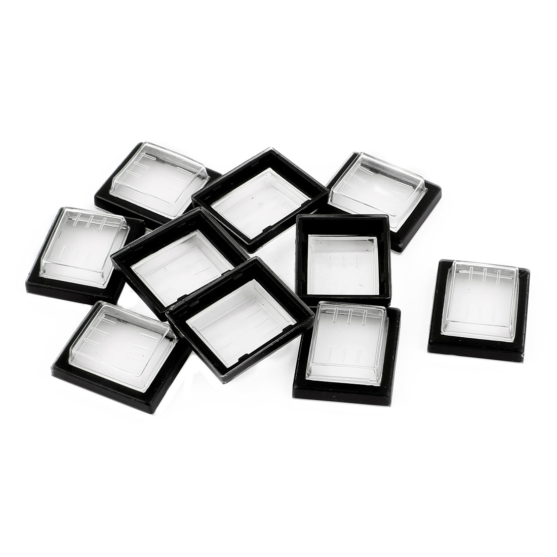 10 Pcs Clear Black Silicone Waterproof Rocker Switch Protect Cover Rectangle Cap