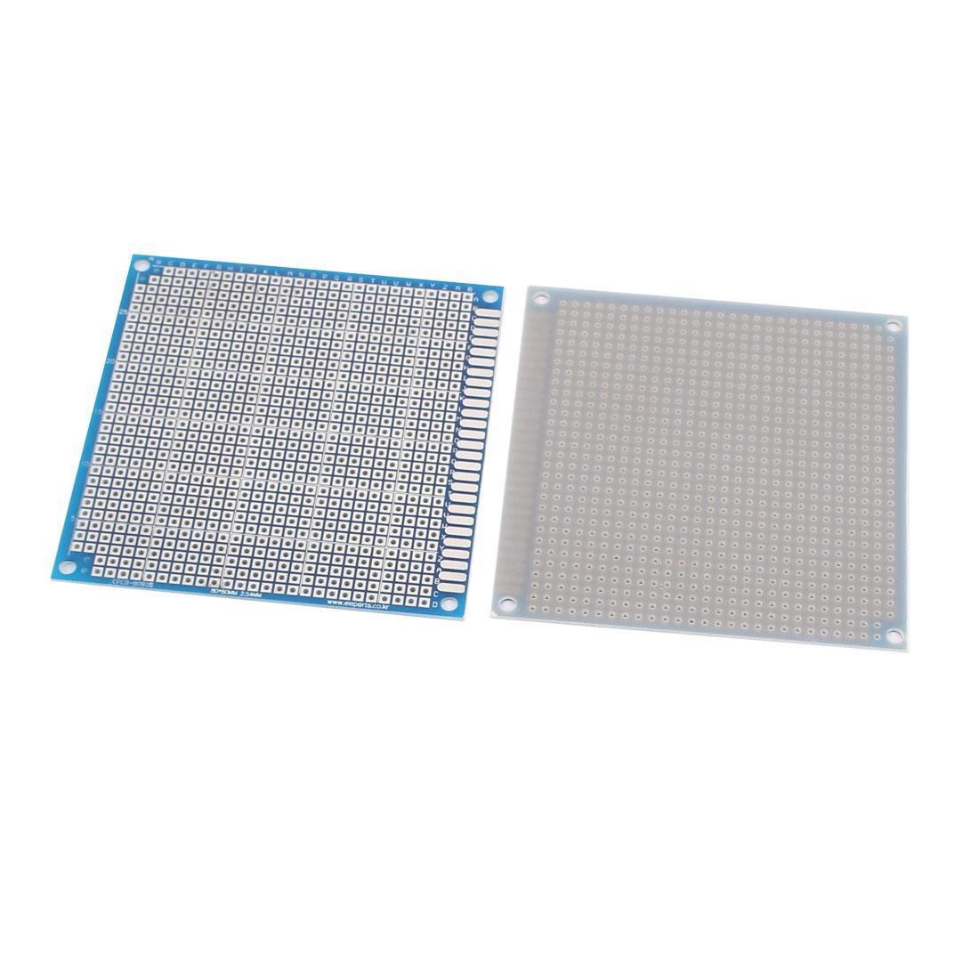 2 Pcs Prototype Universal PCB Print Circuit Board 8CM x 8CM Blue
