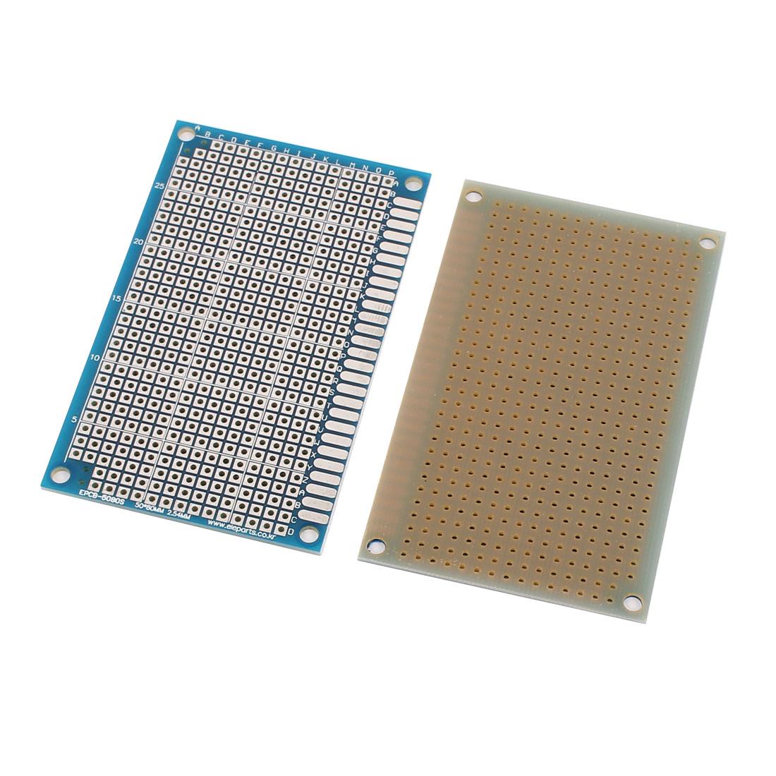 2 Pcs Single Sided Prototype Universal PCB Print Circuit Board 5 x 8CM Blue