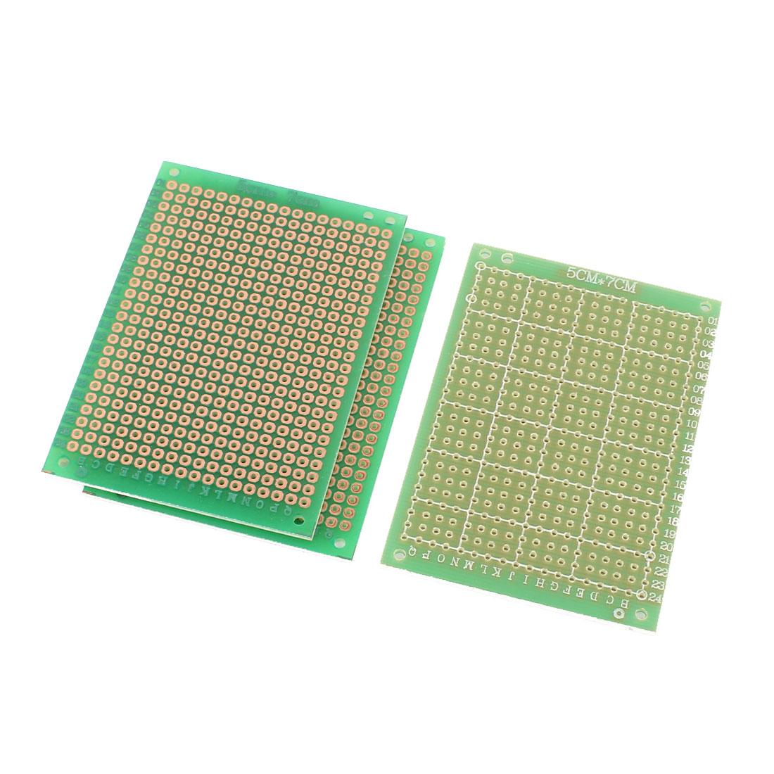 3 Pcs Prototype Universal PCB Print Circuit Board 5CM x 7CM Green