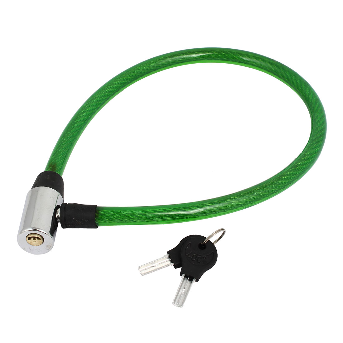 Bike Bicycle Motorcycle Plastic Coated Security Cable Lock 63cm Length Green