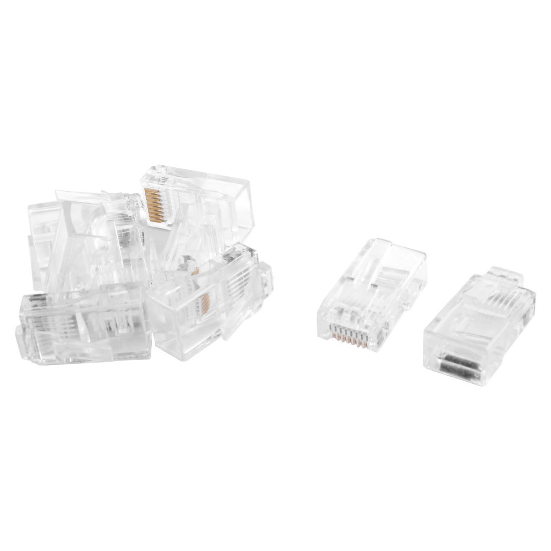 RJ45 8P8C CAT5 Modular Adapter Ethernet Jack LAN Network Connector Clear 9pcs