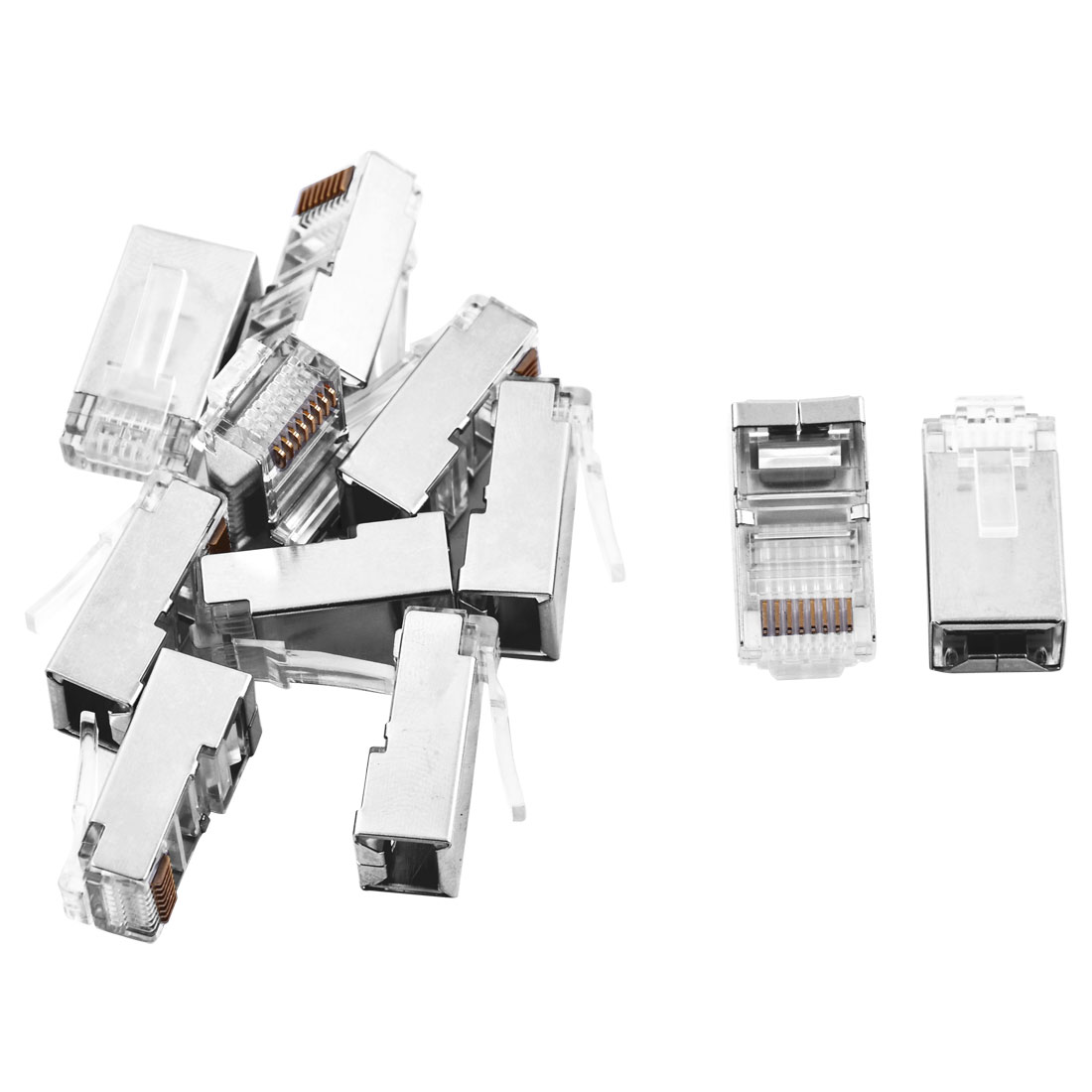 11pcs RJ45 8P8C CAT5 Modular Adapter Ethernet Network Shielded Crimp Connector
