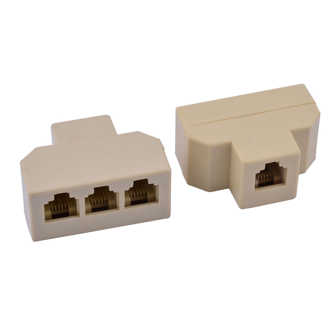 RJ11 6P4C Port Telephone Cable Adapter Splitter Connector Adapter Beige 2Pcs