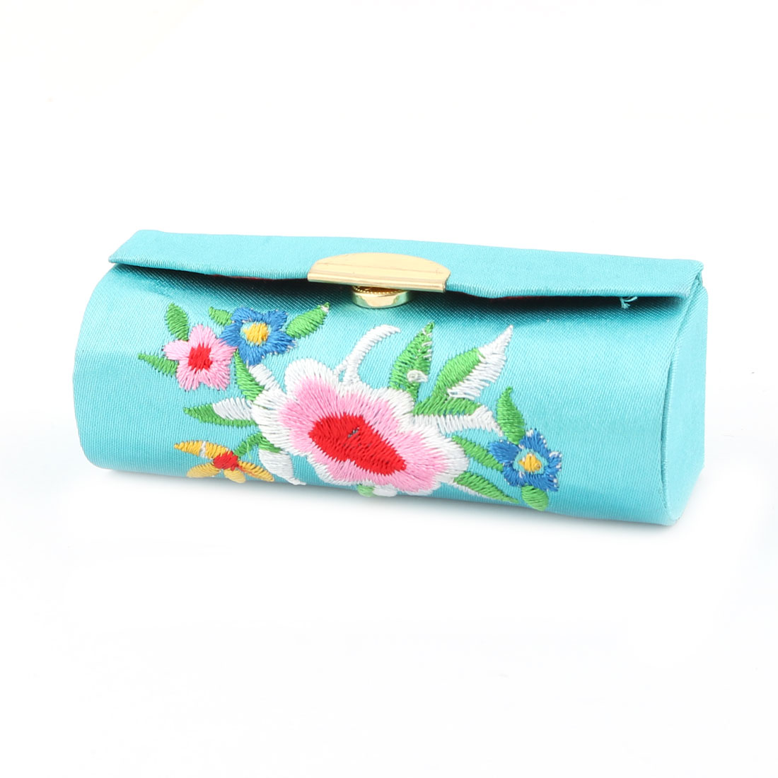 Lady Embroidery Floral Pattern Lipstick Lip Chap Stick Storage Case Jewelry Holder Box Blue