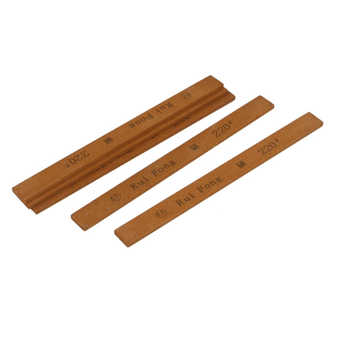Rectangle Abrasives Polishing Oil Stone Stick Tool Brown 220 Grit 5pcs