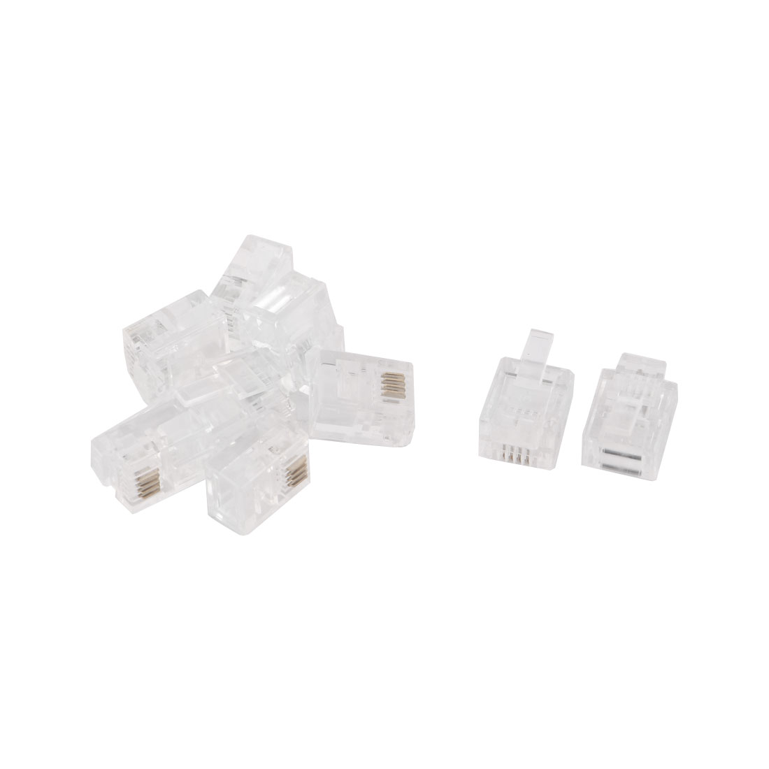 RJ11 6P4C Cat3 Stranded Wire Network Lan Jack Modular Connector Head Clear 9pcs