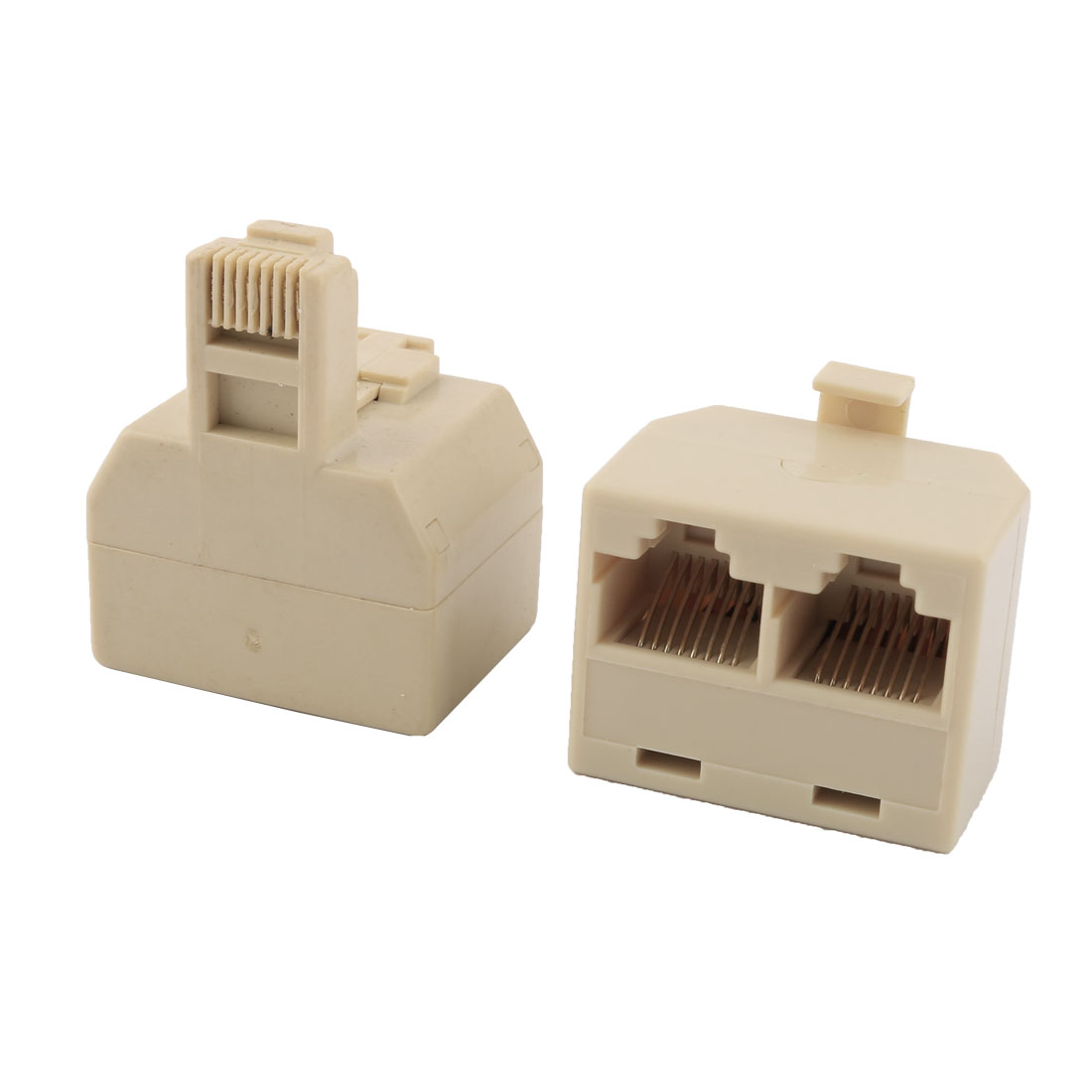 RJ45 8P8C Keystone 1 Male to 2 Female Port Network Cable Connector Splitter Beige 2pcs