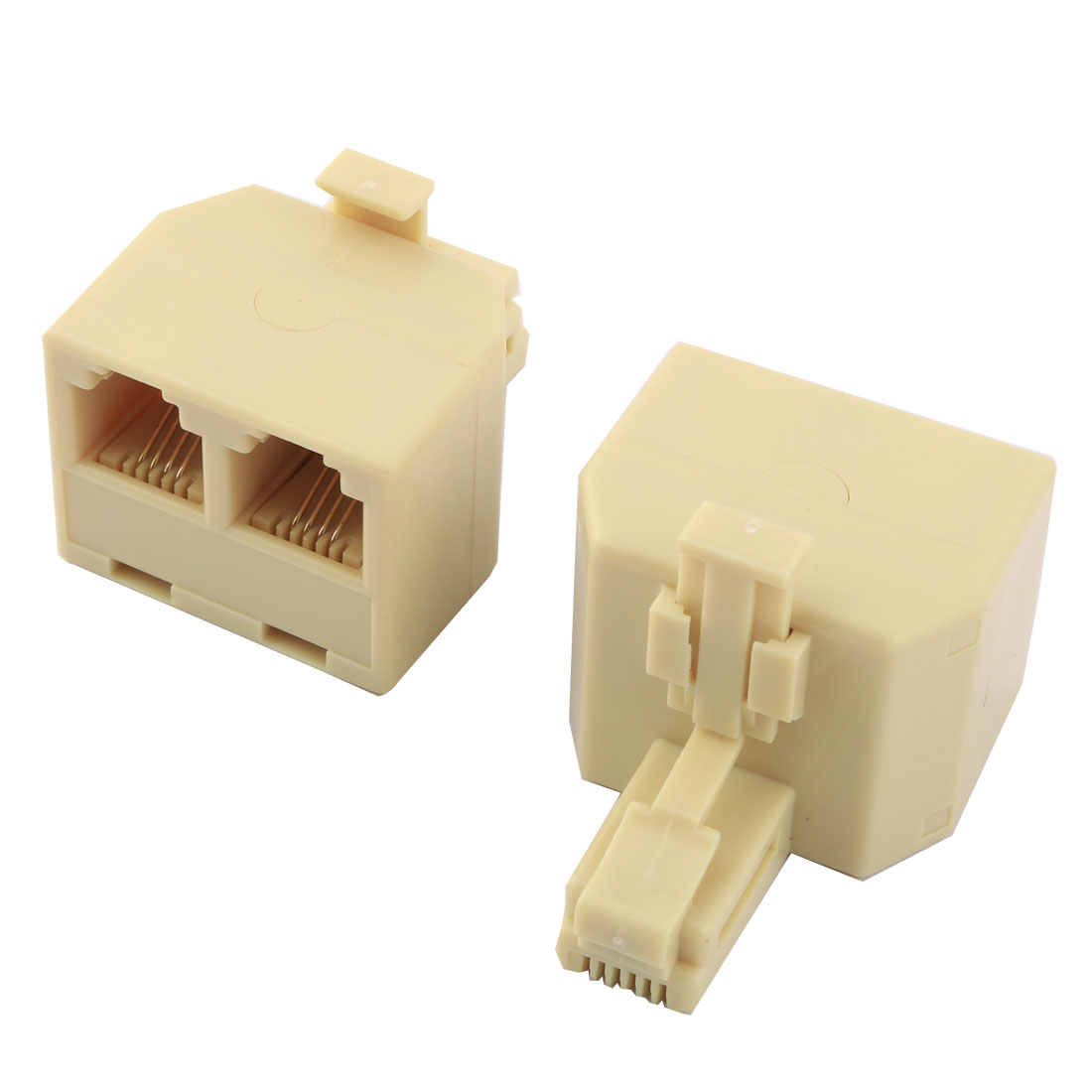 Home RJ11 6P4C Keystone 1 Male to 2 Female Telephone Wire Cable Connector Splitter Beige 2pcs