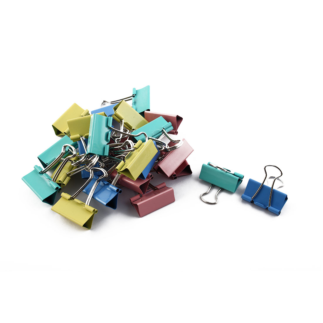 Office School Metal File Document Paper Binder Clips Clamps Organizer Colorful 24pcs