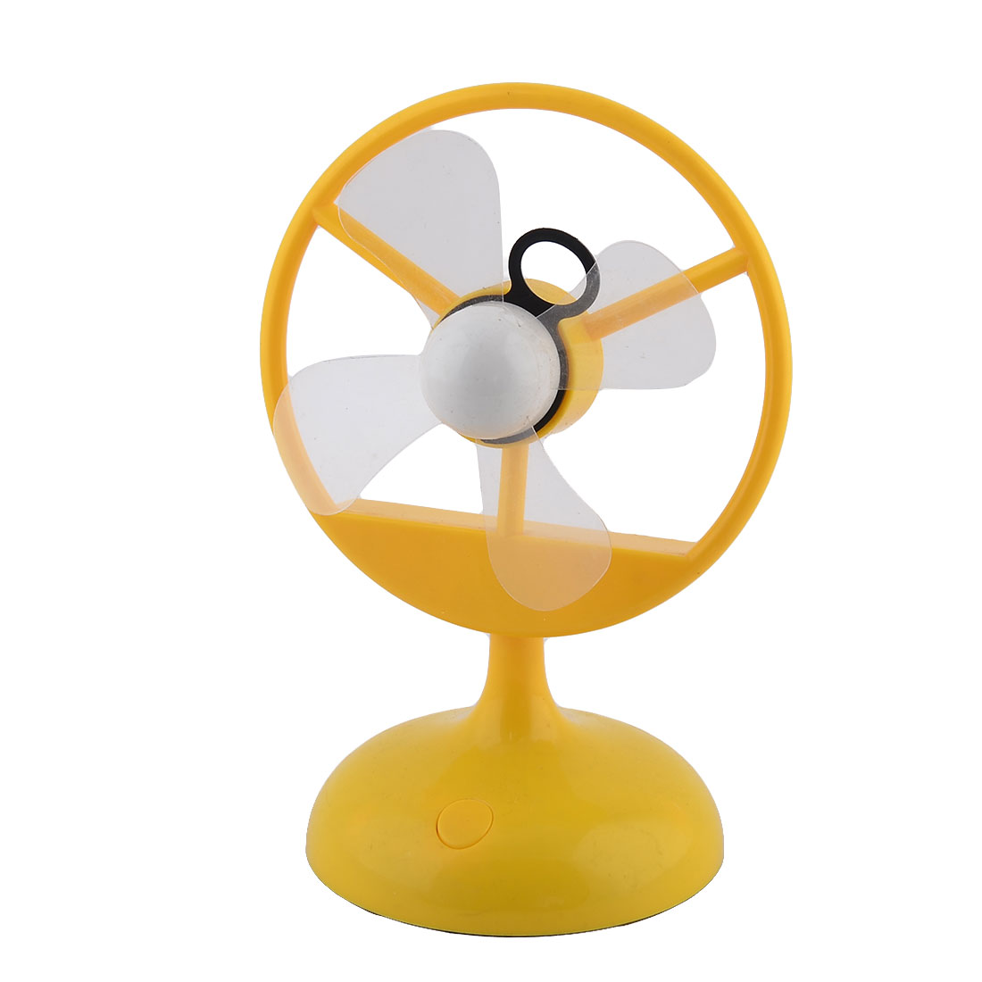 Plastic Round Base USB Mini Cooler Cooling Air Fan Yellow for Office Table