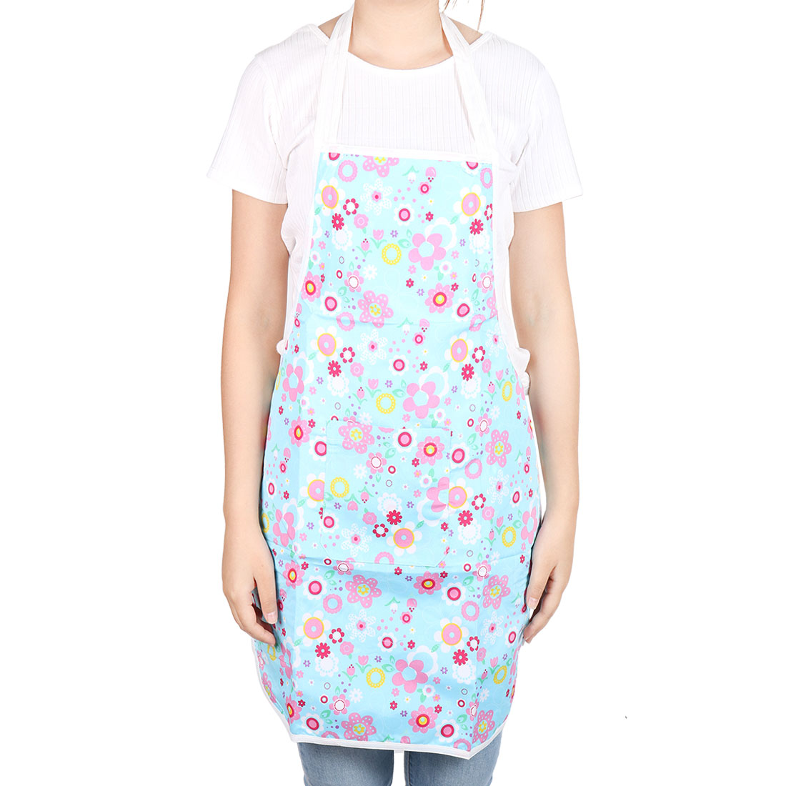 Kitchen Household Flower Pattern Water Resistant Cooking Apron Colorful